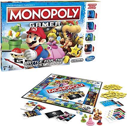 Esta es el contenido de la caja del juego de mesa MonopolyGamer